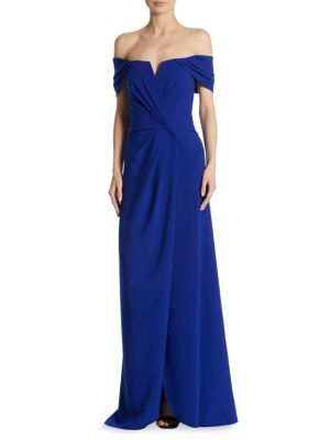 Grecfian Off-the-Shoulder Draped Gown