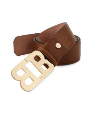 BALLY Mirror B Cigar Stamped Leather Belt