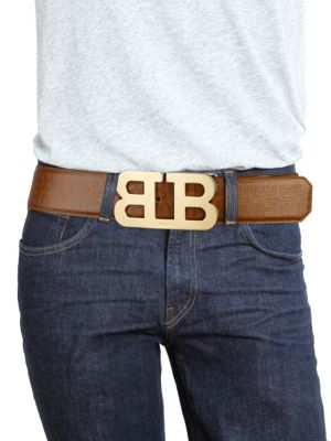 BALLY Mirror B Cigar Stamped Leather Belt