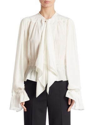 Silk Tie Neck Blouse