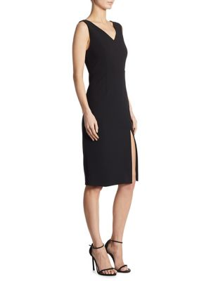 Slit V-Back Sheath Dress