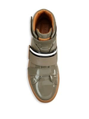 BALLY Leather High-Top Sneakers in Beige