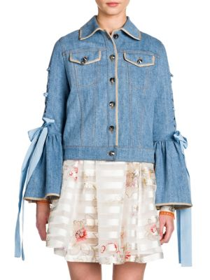 Lace-Up Bell Sleeve Wool & Silk Denim Jacket