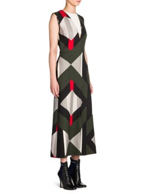 Buy Fendi Double-Face Wool & Silk Illusion V-Neck Midi Dress online with Australia wide shipping