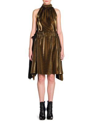 Metallic Lurex Side-Tie Halter Dress