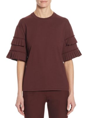 Pleated Cotton Bell Sleeves Tee by Victoria, Victoria Beckham