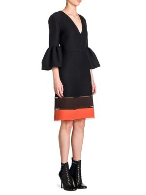 Colorblock Bell Sleeve V-Neck Dress