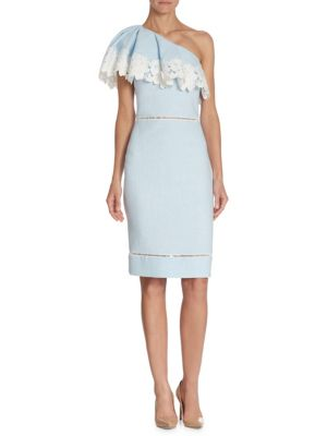 Lace Trim One Shoulder Dress by Badgley Mischka