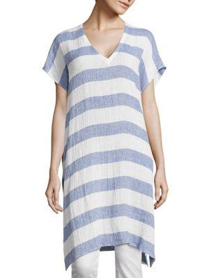Long Striped Linen Tunic by Eileen Fisher