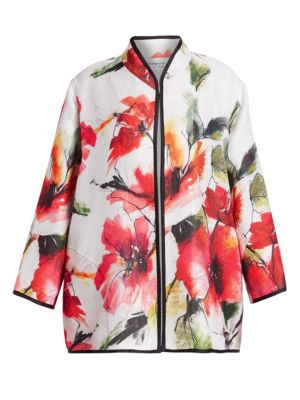 Poppy Bouquet Floral-Print Jacket