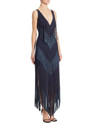 Fringe Deep V-Neck Dress