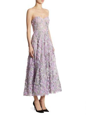 Embellished Strapless Midi Dress