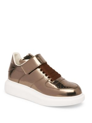 Ankle Strap Leather Platform Sneakers