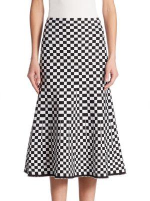 Below Knee Checkerboard Skirt