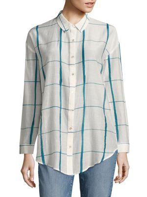 Windowpane Organic Cotton & Silk Shirt by Eileen Fisher