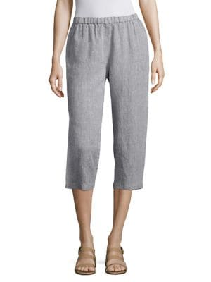 Cropped Organic Linen Pants by Eileen Fisher