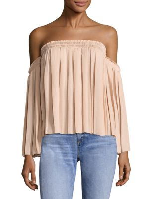 Emelyn Pleated Off-The-Shoulder Top