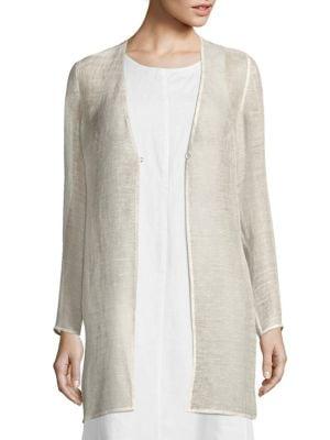 Linen-Blend Mesh Jacket by Eileen Fisher