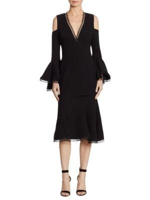 Crepe Cold Shoulder Dress