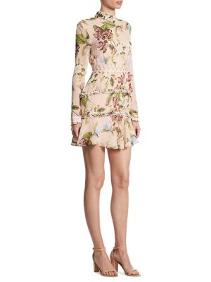Evie Ruffled Floral-Print Silk Dress