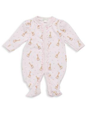 Baby's Giraffe-Print Ruffled Pima Cotton Footie