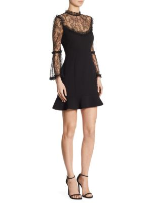 Lace Crepe Mini Dress