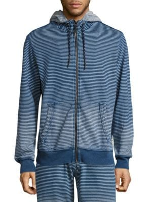 Striped Spray Zip Up Hoodie