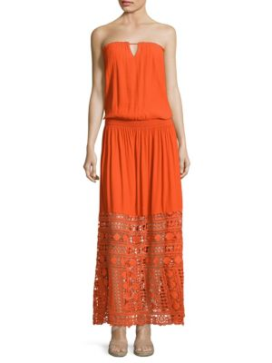 Taylor Crochet Hem Strapless Maxi Dress