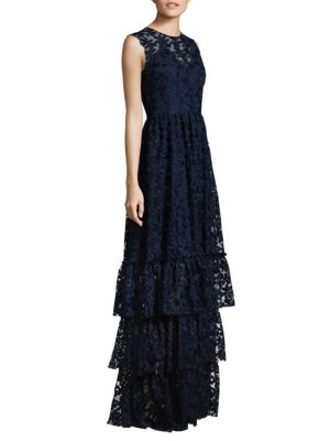 MIDNIGHT Daisy Embroidered Tiered Skirt Gown