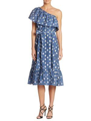 One-Shoulder Clip Dot Midi Dress