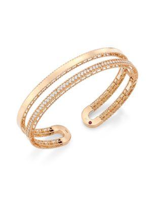 Double Symphony Diamond and 18K Rose Gold Bangle
