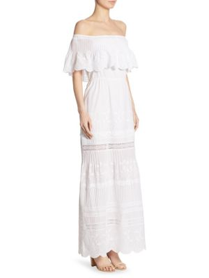 Pansy Embroidered Off-The-Shoulder Maxi Dress