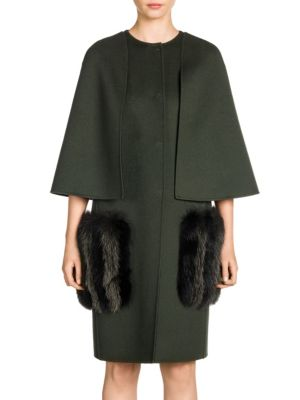 Double-Face Wool & Fox Fur Pocket Cape