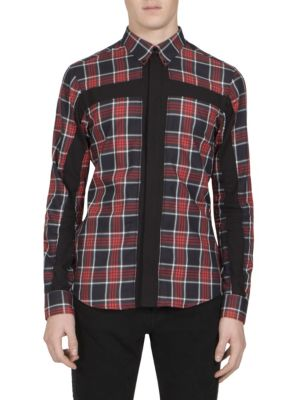 Cross-Inset Plaid Button-Down Shirt