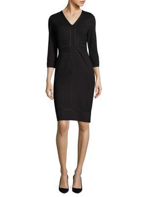 Dixi Pointelle-Knit V-Neck Dress