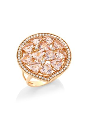 HUEB Trilliant Morganite-Rose Diamond & 18K Rose Gold Cocktail Ring