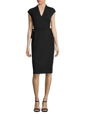 Dwena Lace-Up Side V-Neck Dress