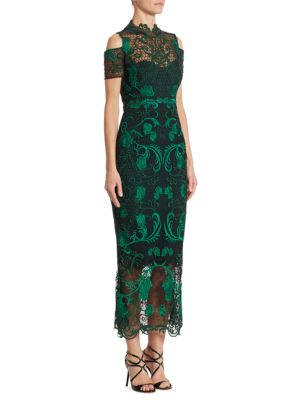 Cold-Shoulder Guipure Lace Midi Dress