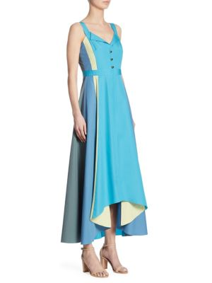 Paneled Cotton Midi Dress