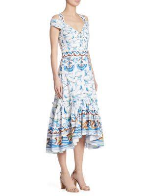 Bird-Print Cotton Cold Shoulder Dress