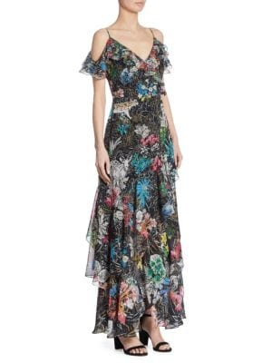Silk Floral-Print Cold Shoulder Gown
