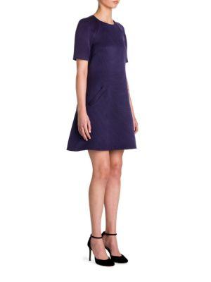 Ribbed Virgin Wool & Silk A-Line Dress
