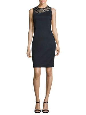 Tina Paneled Faille Sheath Dress