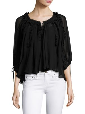Elie Tahari Woman Jocelyn Lace-trimmed Silk-georgette Blouse Black Size XL Elie Tahari