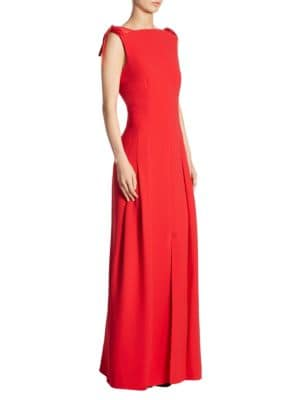 Tie-Shoulder U-Back Silk Gown
