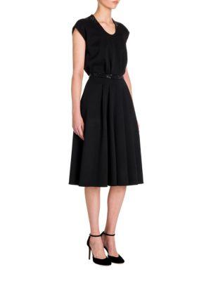 Crystal-Embellished Wool Fit-&-Flare Dress