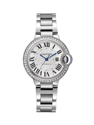 Ballon Bleu de Cartier Diamond & Stainless Steel Bracelet Watch