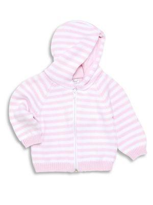 Baby Girl's Striped Zip-Front Hoodie
