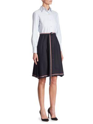 Belted Wool Shirt Dress