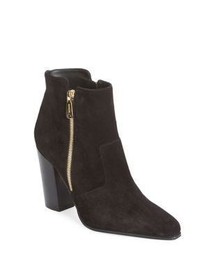 Anthea Double-Zip Suede Block Heel Booties